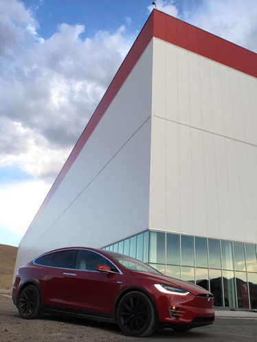 A red Tesla Model X at Gigafactory